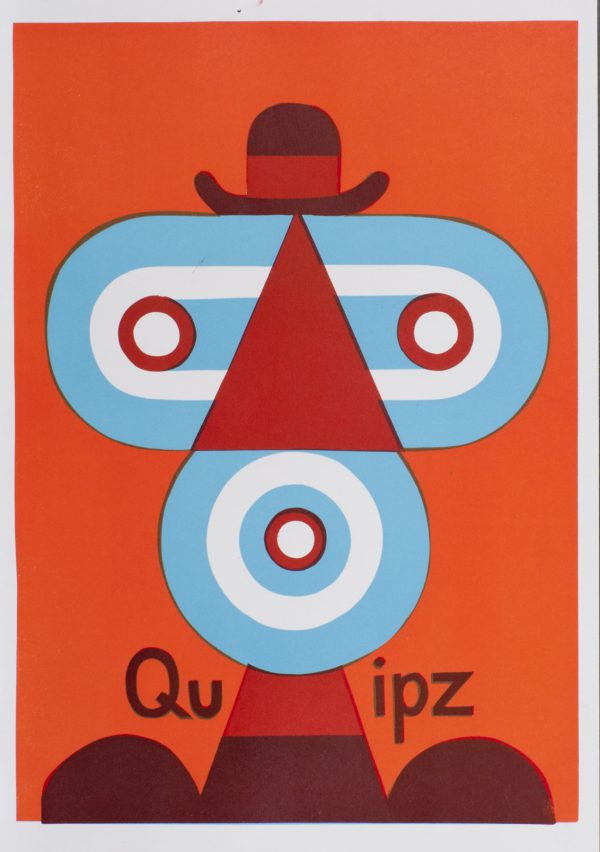 Quipz. Linolschnitt, 3-farbig